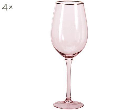 Weingläser Chloe in Rosa mit Goldrand, 4er-Set, Glas, Pfirsich, Ø 9 x H 26 cm