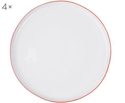 Speiseteller Abysse weiß/rot, 4 Stück, Porzellan, Weiß, Rot, Ø 27 cm
