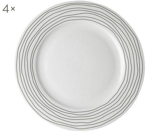 Assiettes plates Eris Loft, 4 pièces, Blanc, noir
