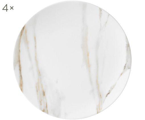 Frühstücksteller Venato Imperial, 4 Stück, Fine Bone China in Marmor-Optik, Weiß, marmoriert, Ø 20 cm