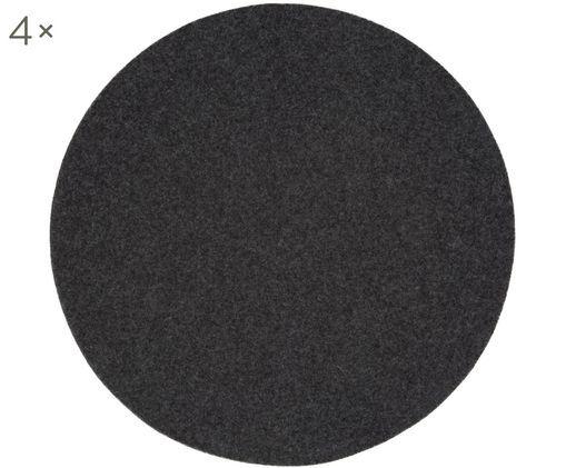 Tovaglietta in feltro di lana Leandra, 4 pz., 90% lana, 10% polietilene, Antracite, Ø 40 cm