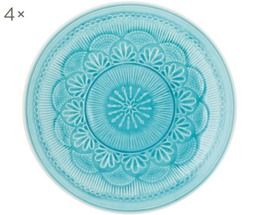 Assiettes plates Nadia, 4 pièces, Bleu-vert, blanc