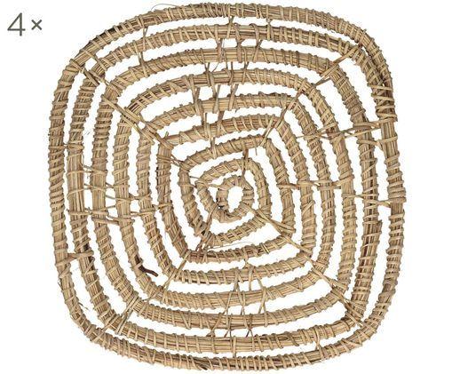 Sottobicchieri Spirou, 4 pz., Rattan, Marrone, Larg. 12 x Alt. 1 cm