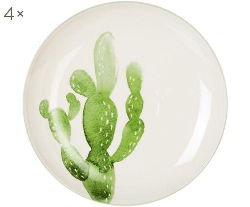 Piatti piani Jade, 4 pz., Gres, Beige, verde, Ø 25 cm