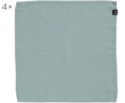 Tovagliolo di lino Sunshine, 4 pz., Lino, Chiaro blu verde, L 45 x P 45 cm