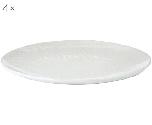 Assiettes plates faites à la main Copenhagen, 4pièces, Ivoire avec fines rayures beige clair