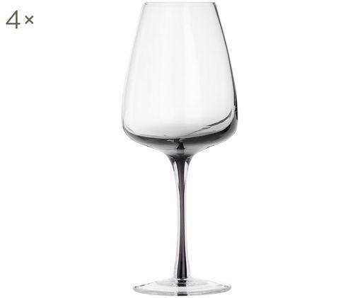 Mundgeblasene Weingläser Smoke, 4er-Set, Glas, mundgeblasen und dickwandig, Rauchgrau, Ø 9 x H 21 cm