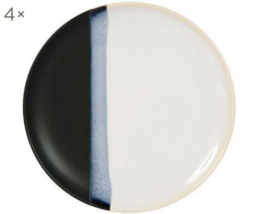 Speiseteller Ekume, 4 Stück, Blau, Weiß, Schwarz