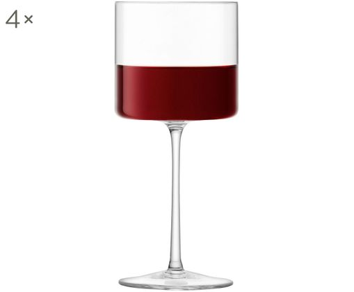 Weingläser Otis in quadratischer Form, 4er-Set, Glas, Transparent, Ø 8 x H 19 cm