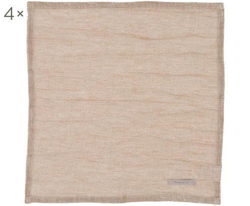 Tovagliette Kinia, 4 pz., 55% cotone, 45% lino, Marrone, L 45 x P 45 cm