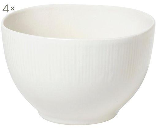 Ciotole fatte a mano Sandvig, 4 pz., Porcellana, tinta, Bianco latteo, Ø 14 x Alt. 8 cm