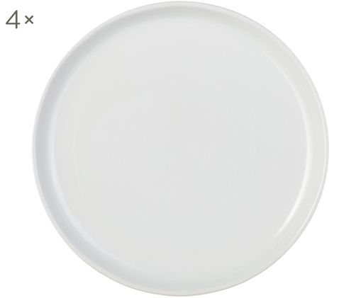 Assiettes plates Pinch, 4pièces, Blanc