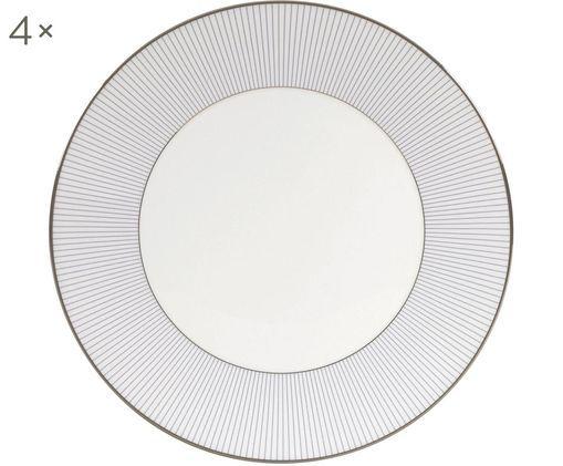 Piatto da colazione Pin Stripe, 4 pz., Bordo: placca di platino, Bianco, blu, platino, Ø 18 cm