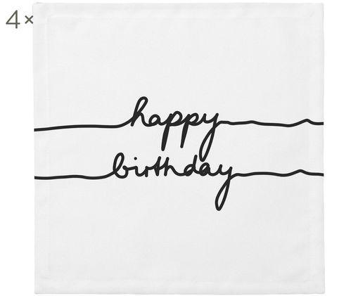 Tovagliolo di stoffa Happy Birthday, 4 pz., Cotone, Bianco, nero, Larg. 40 x Lung. 40 cm