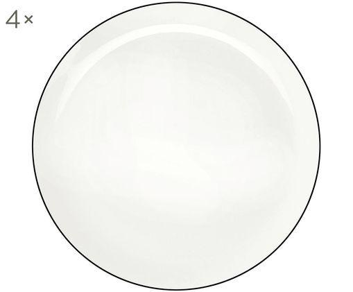 Piatti piani á table ligne noir, 4 pz., Porcellana Fine Bone China, Bianco Bordo: nero, Ø 27 cm