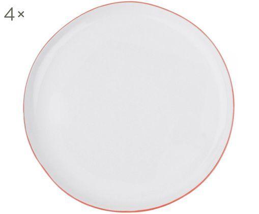 Talerz śniadaniowy Abysse, 4 szt., Porcelana, Biały, czerwony, Ø 21 cm