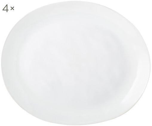 Oválný mělký talíř s nerovným povrchem Porcelino, 4 ks, Bílá