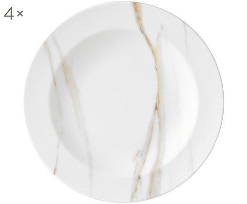 Assiettes creuses Venato Imperial, 4pièces, Blanc, marbré