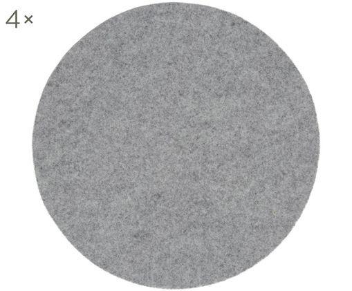 Tovaglietta in feltro di lana Leandra, 4 pz., 90% lana, 10% polietilene, Grigio chiaro, Ø 40 cm