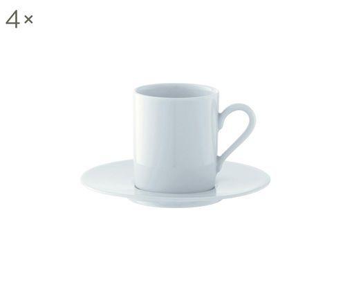 Espressotassen mit Untertassen Bianco, 4 Stück, Porzellan, Weiß, Ø 12 x H 7 cm