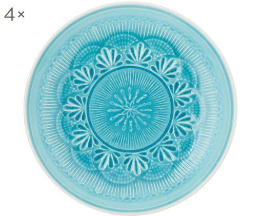 Piatto da colazione Nadia, 4 pz., Terracotta, Blu verde, bianco, Ø 21 x Alt. 3 cm