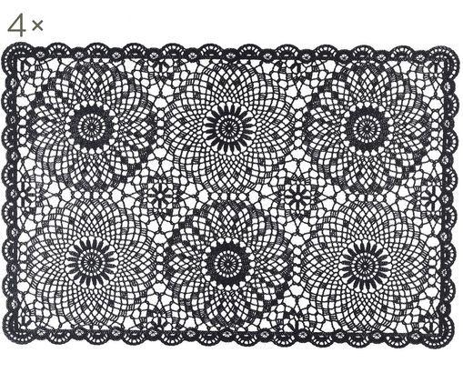 Tovaglietta Crochet, 4 pz., Materiale sintetico (PVC), Nero, P 20 x L 35 cm