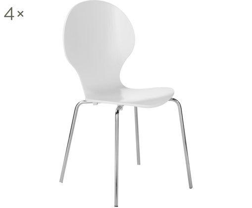 Esszimmerstühle Marcus, 4 Stück, Sitzfläche: Mitteldichte Holzfaserpla, Gestell: Stahl, verchromt, Weiß, 49 x 87 cm