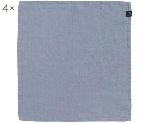 Serwetka z lnu Sunshine, 4 szt., Len, Jasno szaroniebieski, D 45 x S 45 cm