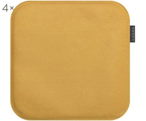 Nakładka na krzesło Avaro Square, 4 elem., Brunatnożółty, S 35 x D 35 cm