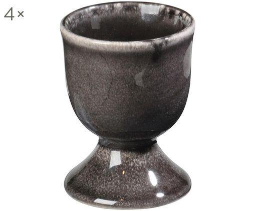 Handgemachte Eierbecher Nordic Coal, 4 Stück, Steingut, Bräunlich, Ø 5 x H 6 cm