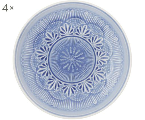 Piatto da colazione Nadia, 4 pz., Terracotta, Blu fiordaliso, bianco, Ø 21 x Alt. 3 cm
