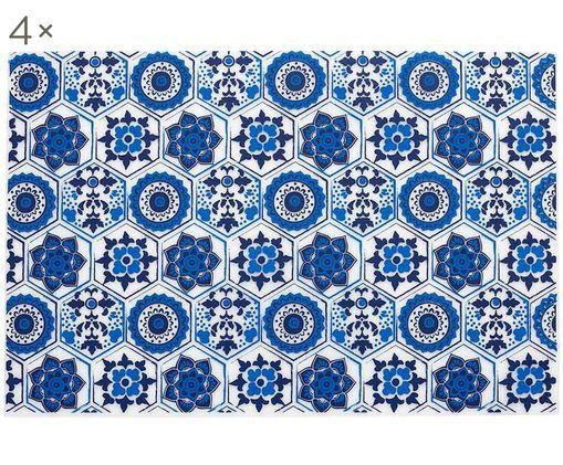 Set tovagliette Fiesta 4 pz, Materiale sintetico (PVC), Blu, trasparente-latteo, Larg. 30 x Lung. 45 cm