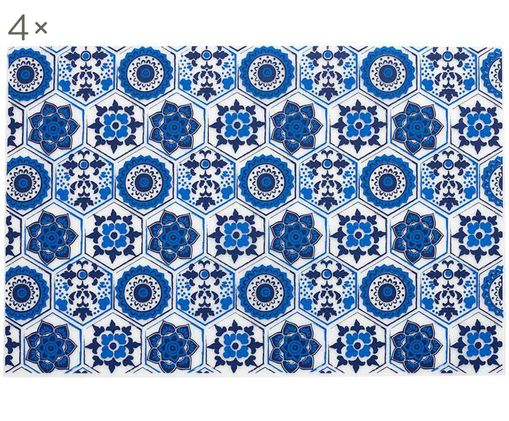 Manteles individuales de plástico Fiesta, 4uds., Plástico (PVC), Azul, transparente-lechoso, An 30 x L 45 cm
