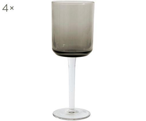 Mundgeblasene Weingläser Retro in quadratischer Form, 4er-Set, Rauchgrau, leicht transparent