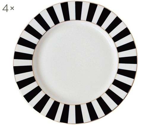 Frühstücksteller Stripy, Schwarz, Weiß