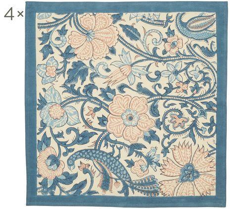 Tovagliette Peacock, 4 pz., Cotone, Beige chiaro, tonalità blu, rosa chiaro, Larg. 45 x Lung. 45 cm
