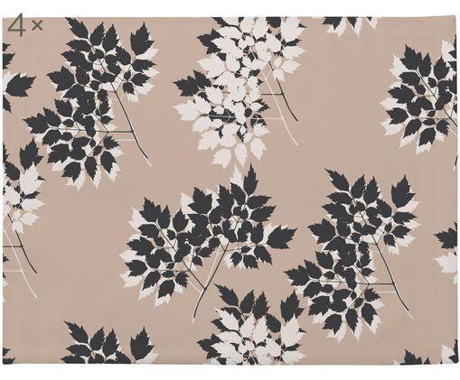 Tovaglietta americana Autumn Leaves 4 pz, Poliestere, Crema, beige, marrone, Larg. 35 x Lung. 45 cm