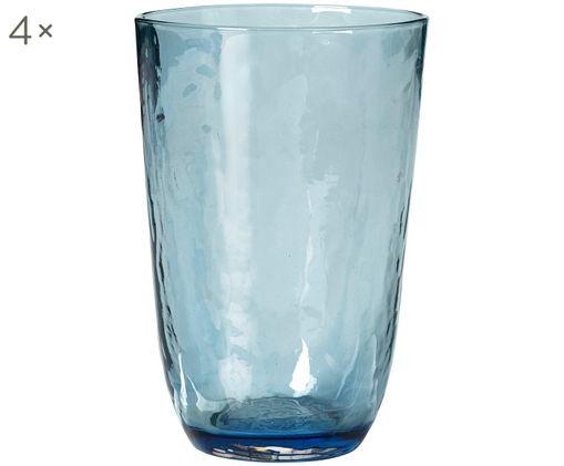 Bicchiere acqua in vetro soffiato Hammered 4 pz, Vetro soffiato, Blu trasparente, Ø 9 x Alt. 14 cm