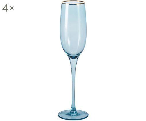 Flute da champagne Chloe in blu con bordo dorato dipinto a mano, 4 pz. nel set, Vetro, Blu scuro, Ø 7 x Alt. 25 cm