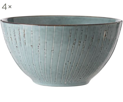 Ciotola fatta a mano Nordic Sea 4 pz, Terracotta, Tonalità grigie e blu, Ø 17 x Alt. 9 cm