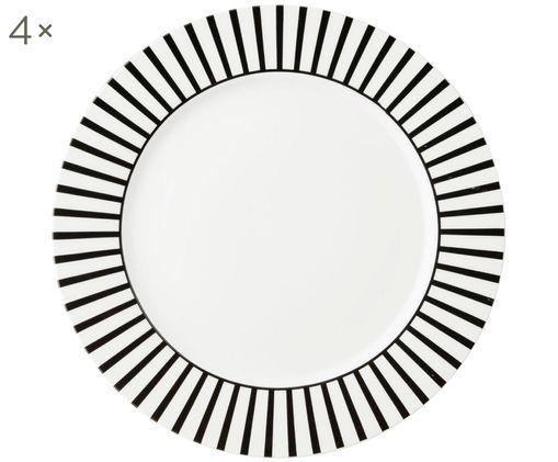 Assiettes plates Ceres Loft, 4pièces, Blanc, noir