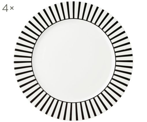 Piatti piani Ceres Loft, 4 pz., Porcellana, Bianco, nero, Ø 26 x A 2 cm