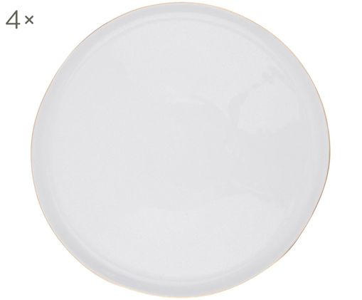Plytký tanier Abysse, 4 ks, Biela, zlatá
