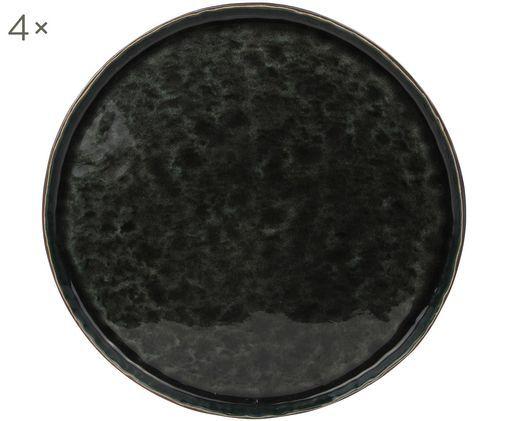 Piatti piani Lagune, 4 pz., Ceramica, Marrone grigiastro, nero verde, Ø 27 cm