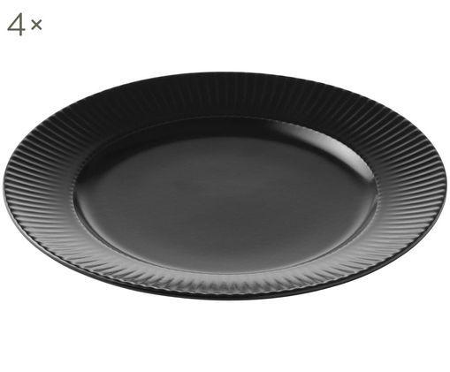Frühstücksteller Groove mit Rillenstruktur, 4 Stück, Porzellan, Schwarz, Ø 21 x H 1 cm