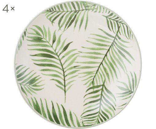 Talerz śniadaniowy Jade, 4 szt., Kamionka, Beżowy, zielony, Ø 20 cm