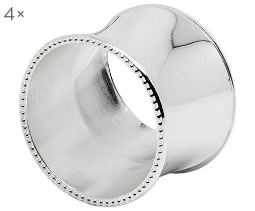 Portatovaglioli Perla, 4 pz., Acciaio, argentato e opaco, Argento, Ø 5 x A 4 cm