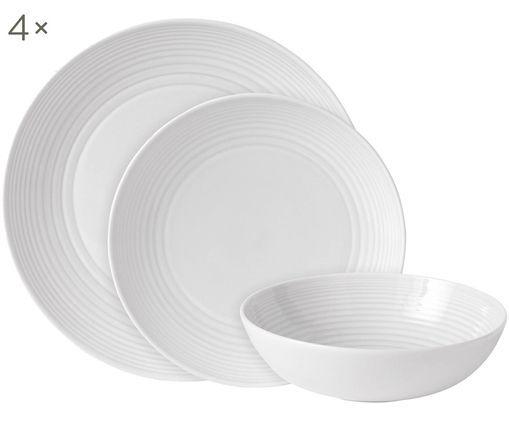 Set di piatti Maze, 12 pz. (4 persone), Bianco