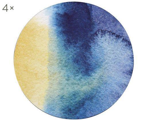 Runde Kunststoff Tischsets Inky, 4 Stück, Vorderseite: Kunststoff Rückseite, Blau, Weiß, Gelb,Türkis, Ø 29 cm