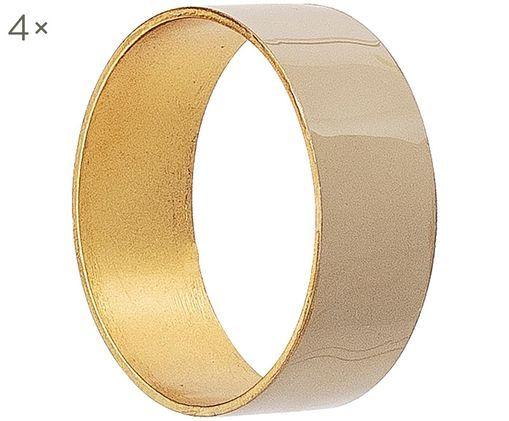 Portatovaglioli Double, 4 pz., Metallo, Beige,  dorato, Ø 5 x A 2 cm